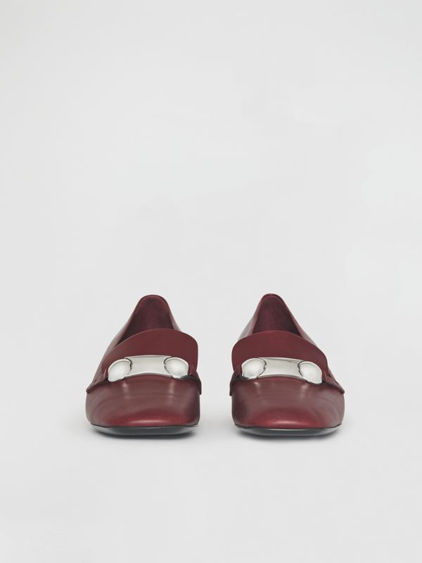 Studded Bar Detail Leather Pumps in Bordeaux - Women | Burberry - cell image 3