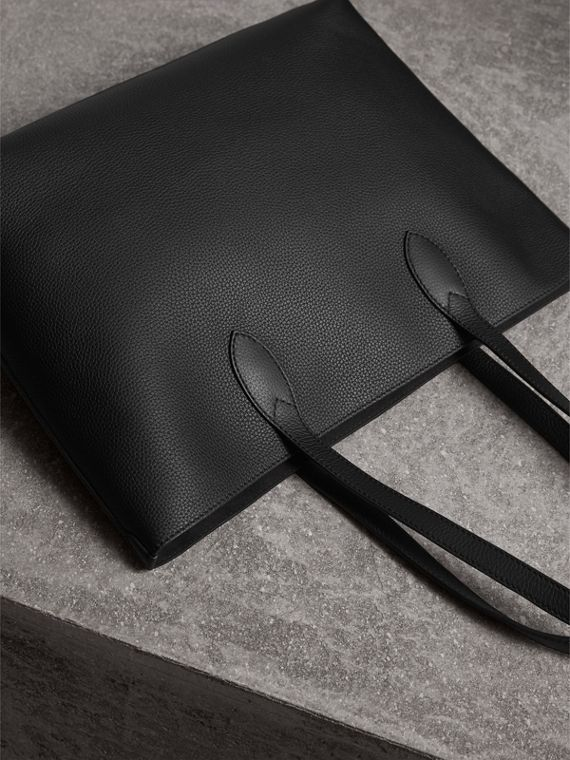 Large Embossed Leather Tote in Black | Burberry - cell image 3