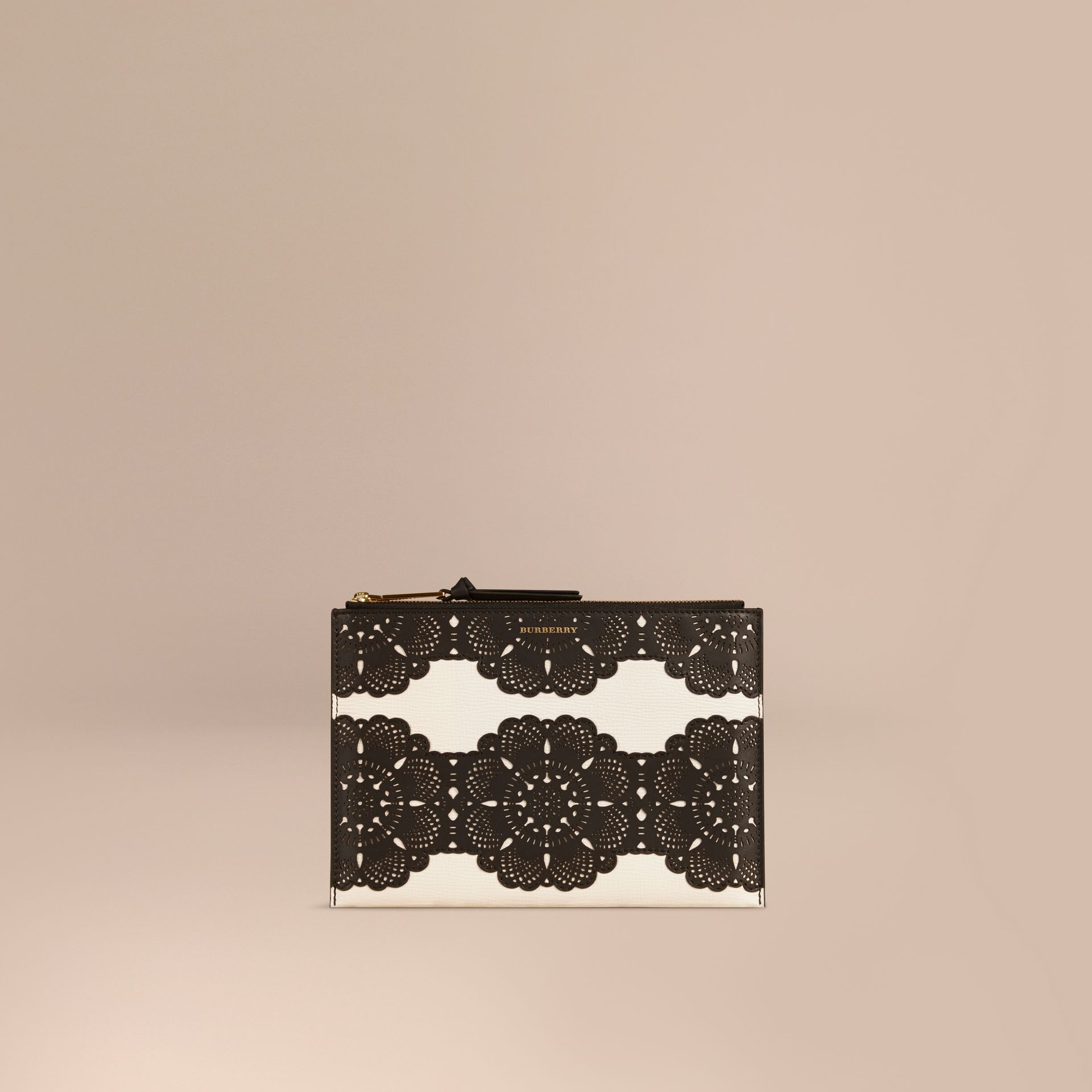 Natural Large Laser-cut Lace Leather Beauty Wallet - gallery image 1