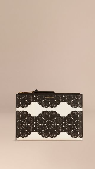 Large Laser-cut Lace Leather Beauty Wallet