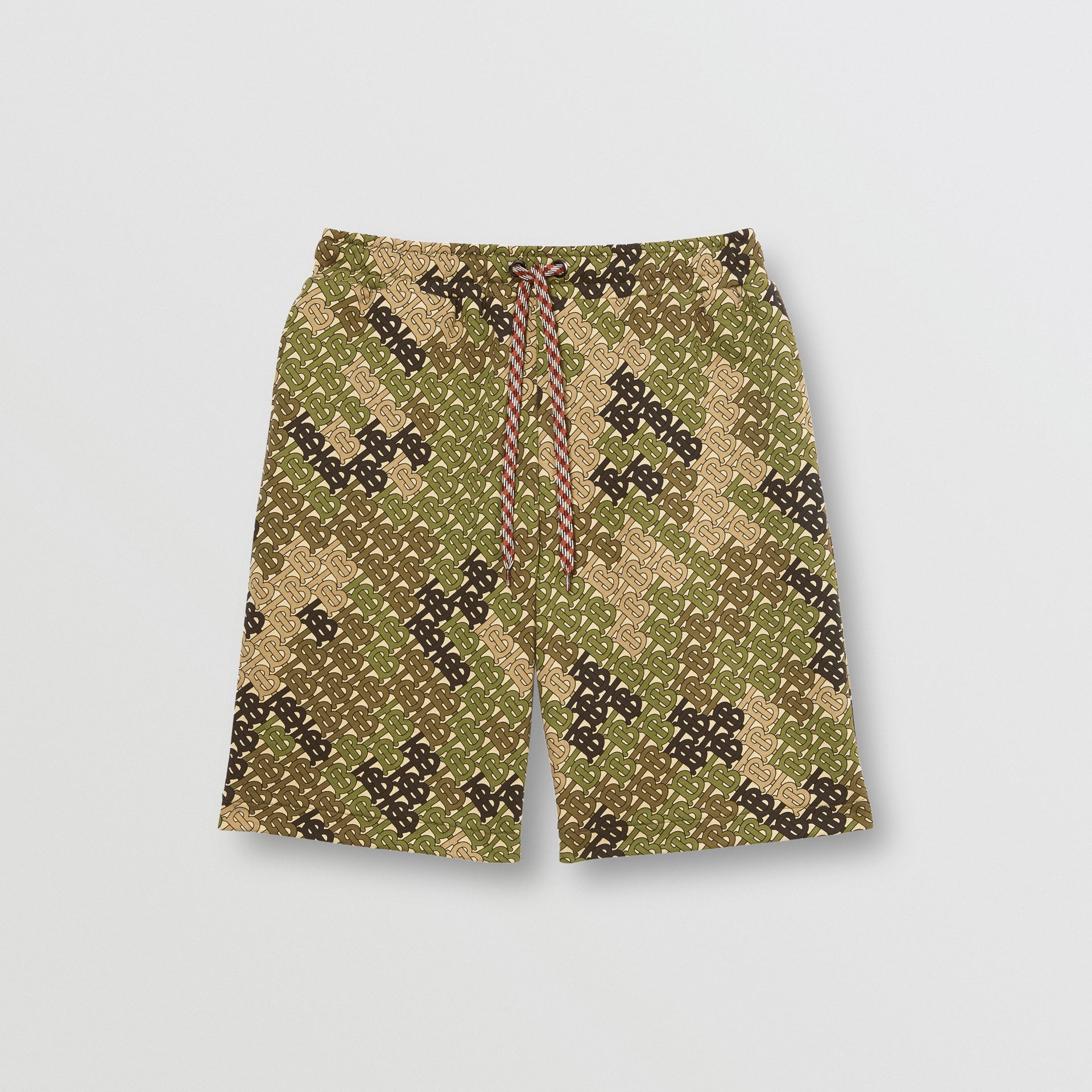 Monogram Print Cotton Drawcord Shorts in Khaki Green | Burberry Singapore - gallery image 3
