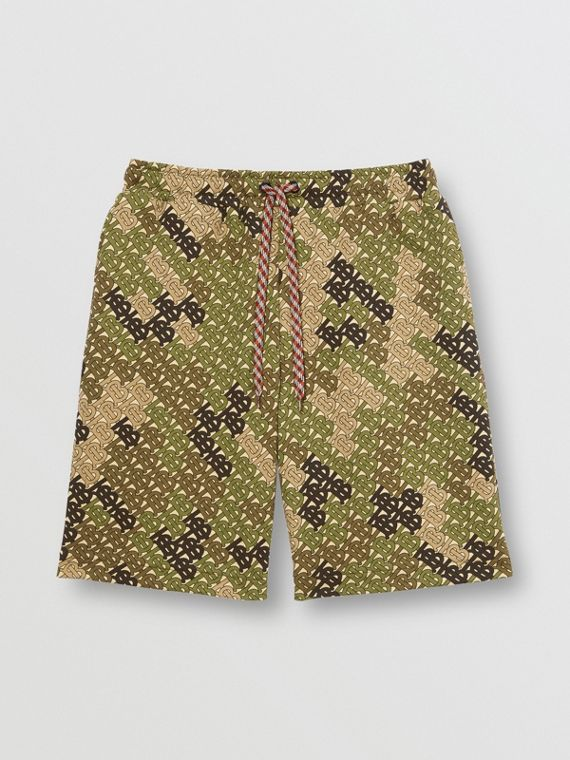 Monogram Print Cotton Drawcord Shorts in Khaki Green