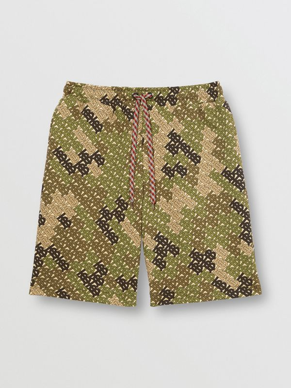 Monogram Print Cotton Drawcord Shorts in Khaki Green - Men | Burberry - cell image 3