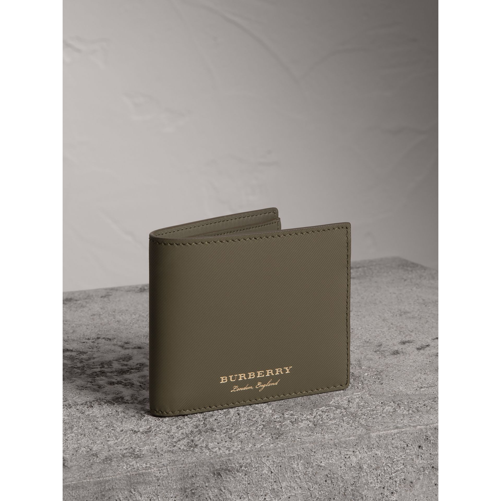 Trench Leather International Bifold Wallet in Slate Green - Men | Burberry United States - gallery image 0