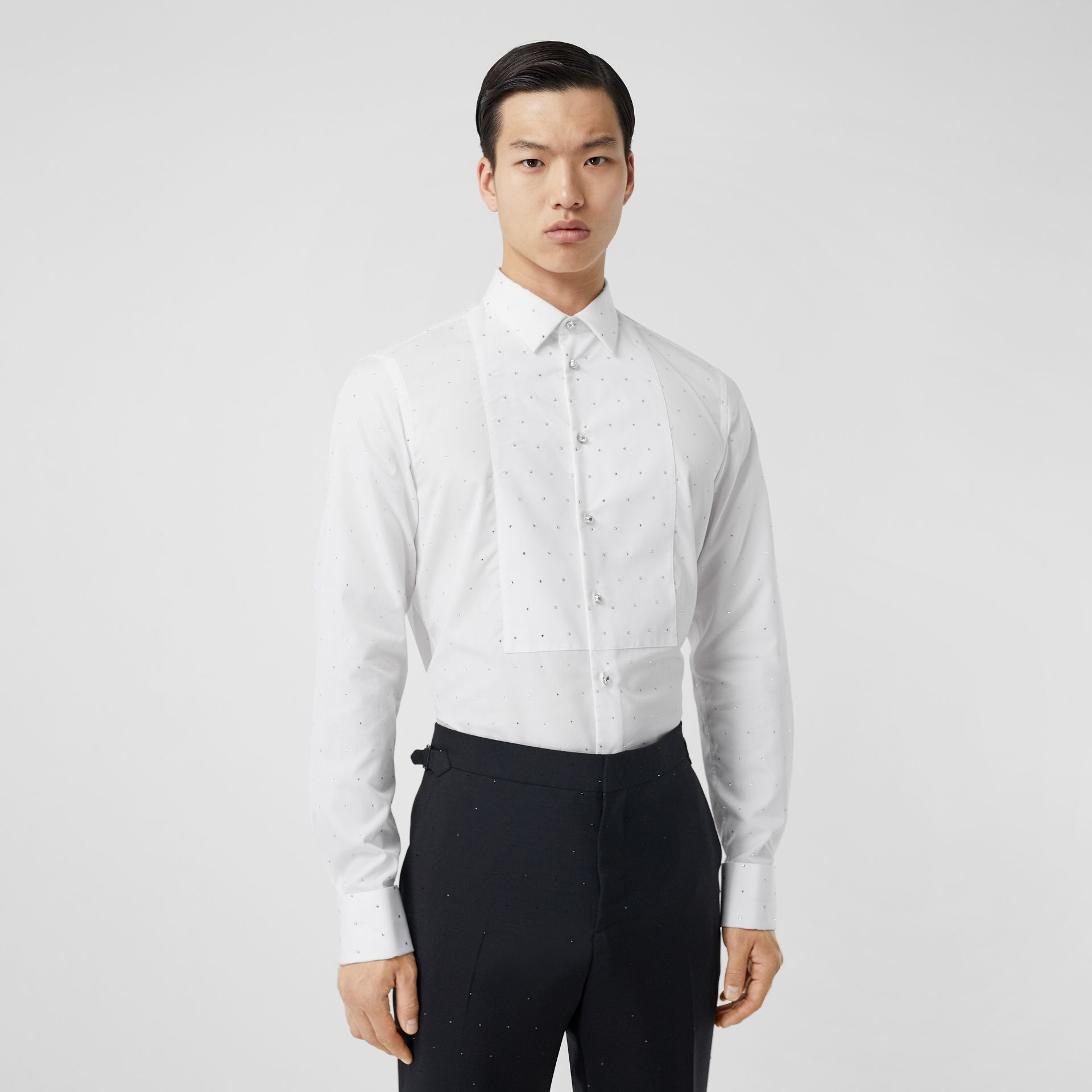 Embellished Cotton Poplin Dress Shirt in Optic White - Men | Burberry - gallery image 0