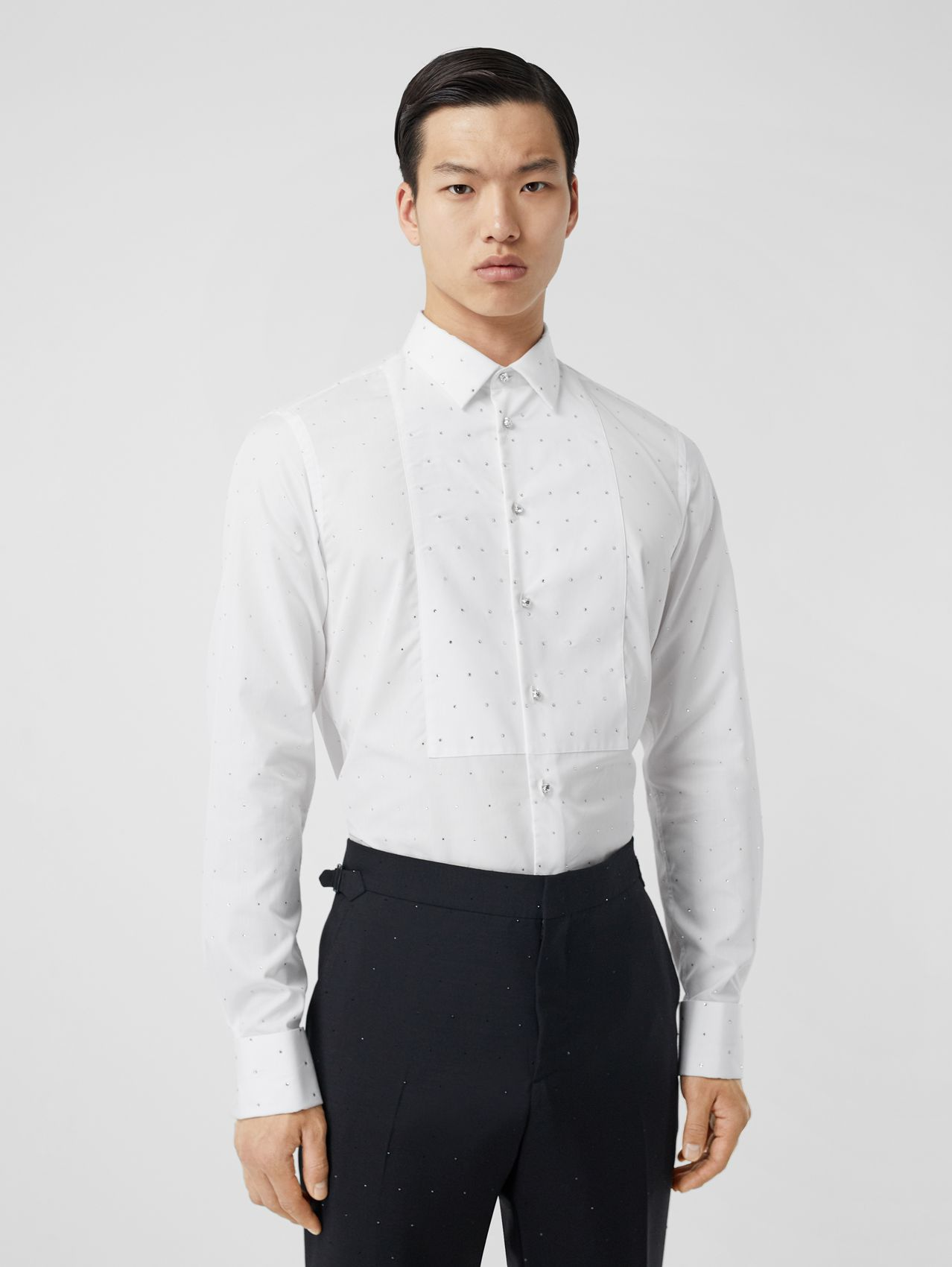 Embellished Cotton Poplin Dress Shirt in Optic White