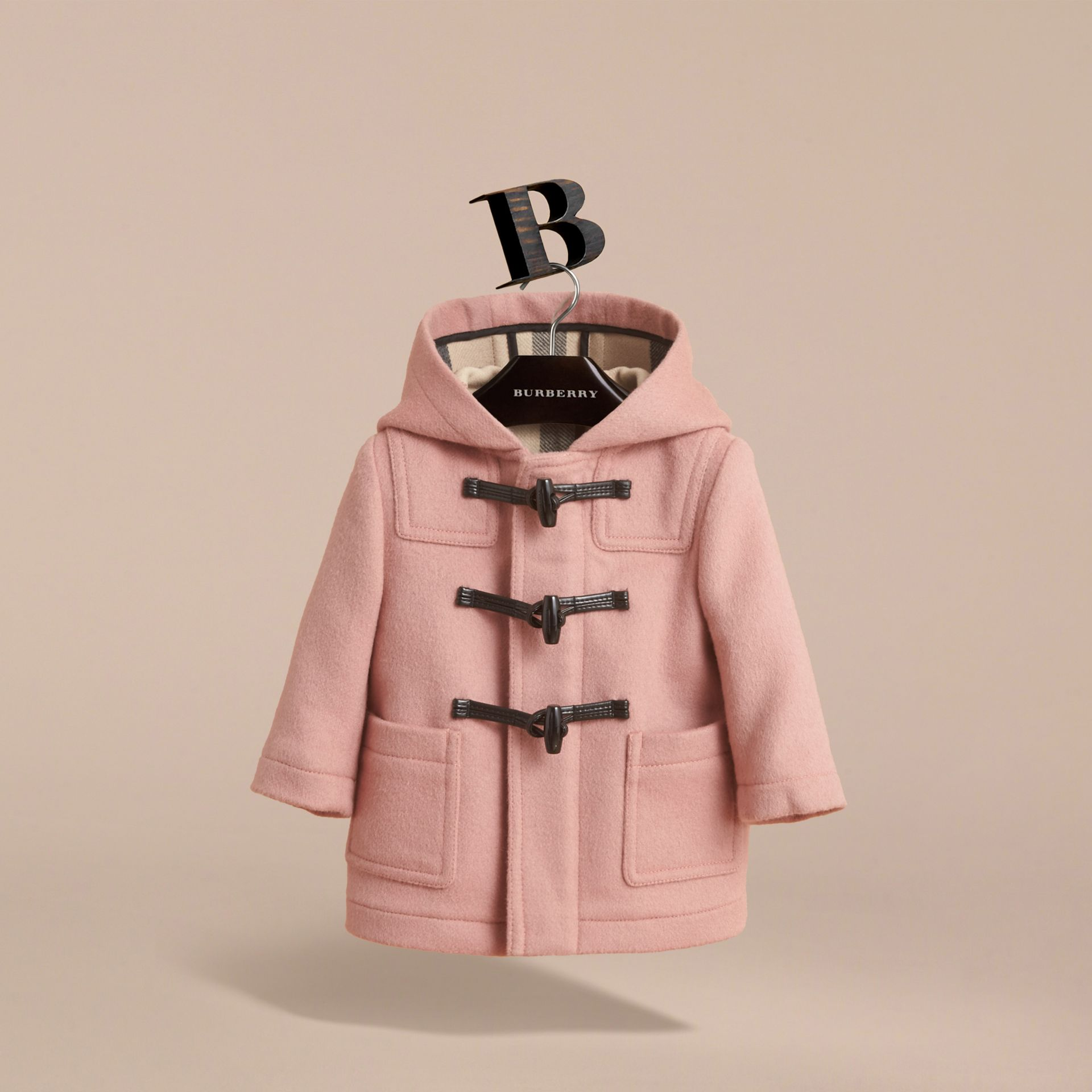Wool Duffle Coat in Pale Rose | Burberry - gallery image 3