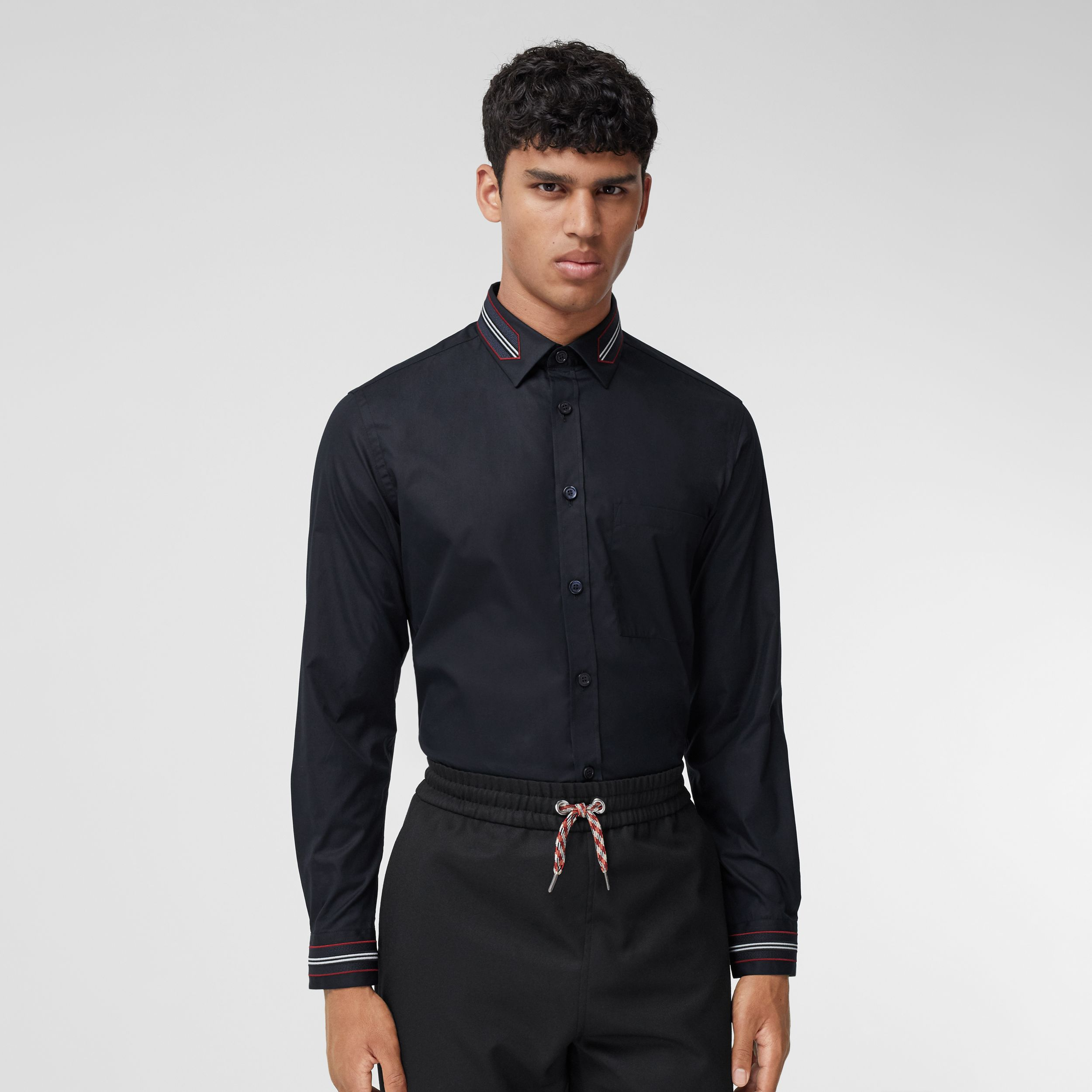 Slim Fit Icon Stripe Trim Cotton Poplin Shirt in Navy - Men | Burberry - 1