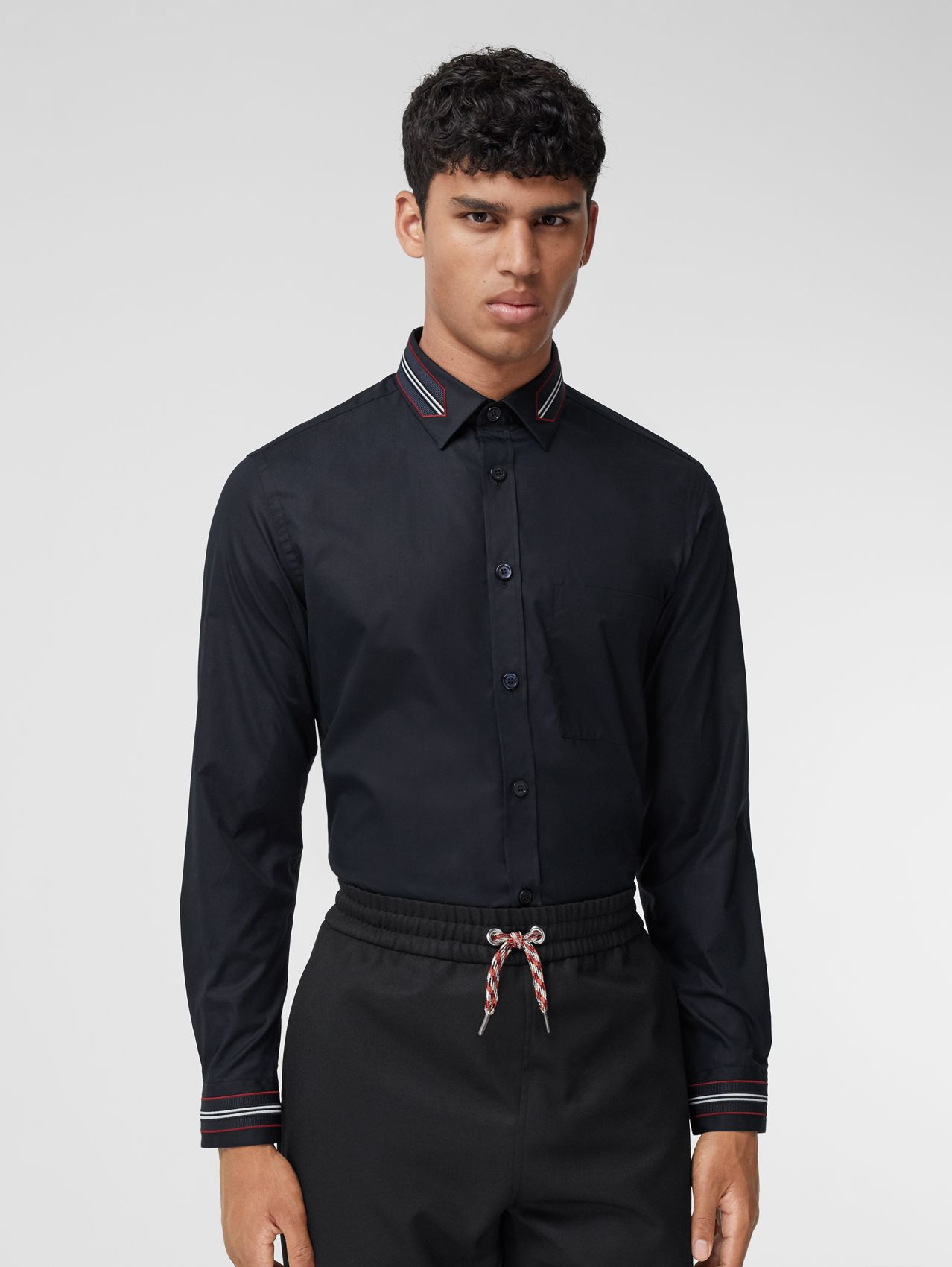 Slim Fit Icon Stripe Trim Cotton Poplin Shirt in Navy
