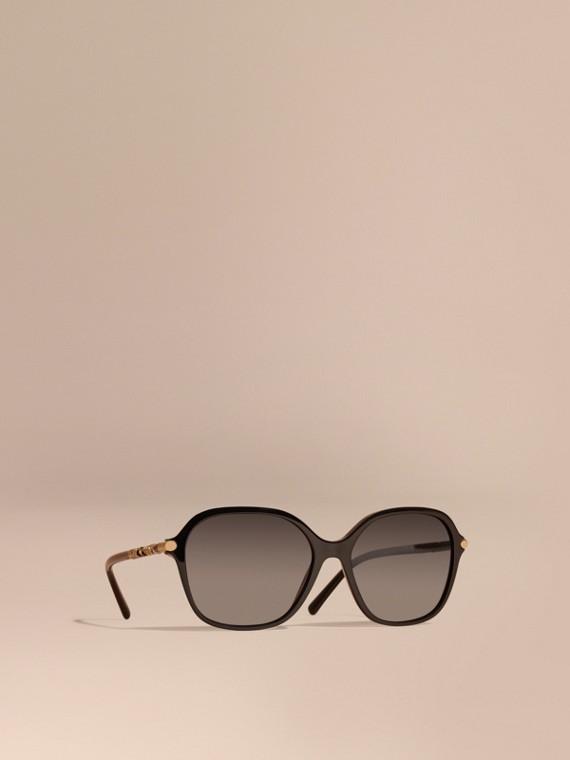 格紋細節設計圓框太陽眼鏡