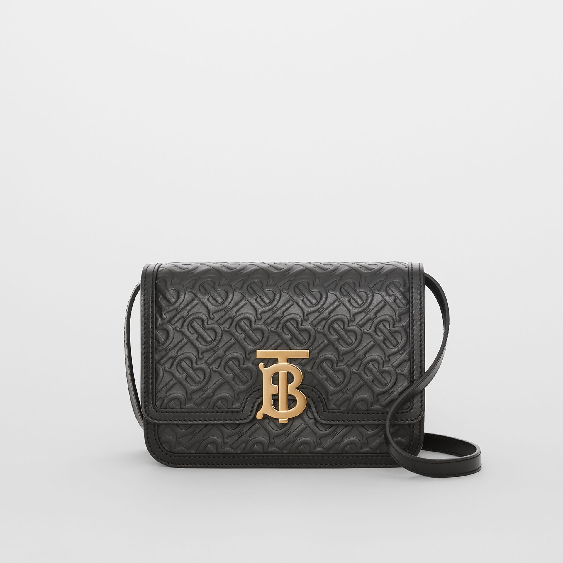 Small Monogram Leather TB Bag in Black - Women | Burberry - gallery image 0