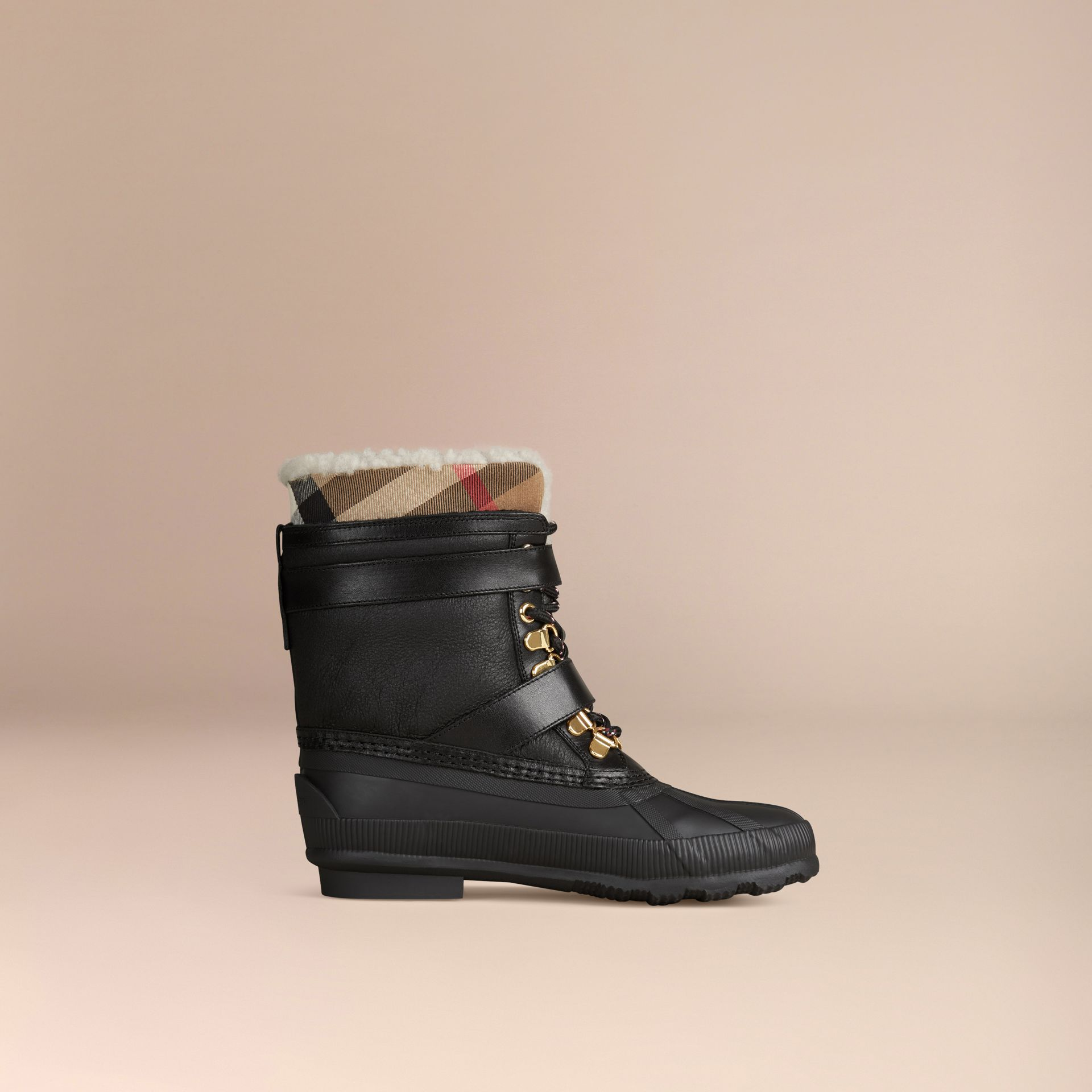 Sueded Shearling and Check Duck Boots in Black - Women | Burberry Singapore - gallery image 4