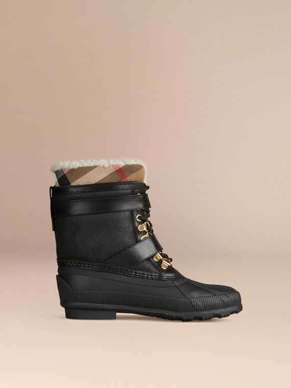 Sueded Shearling and Check Duck Boots in Black - Women | Burberry Singapore - cell image 3