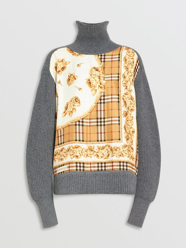 Archive Scarf Print Panel Wool Turtleneck Sweater in Grey Melange - Women | Burberry - cell image 3