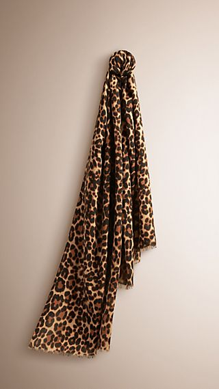 The Lightweight Cashmere Scarf in Animal Print