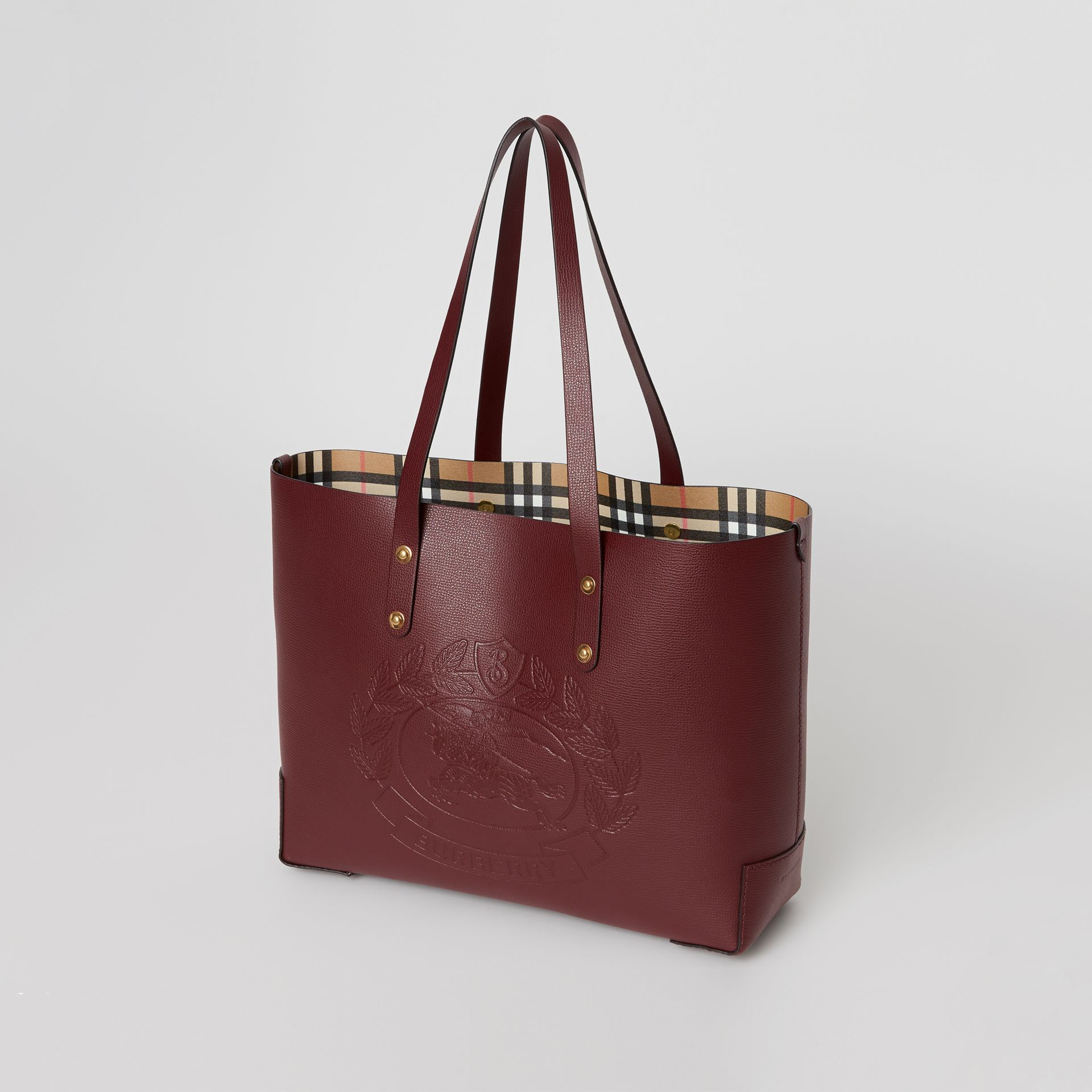 Small Embossed Crest Leather Tote in Burgundy | Burberry - gallery image 2