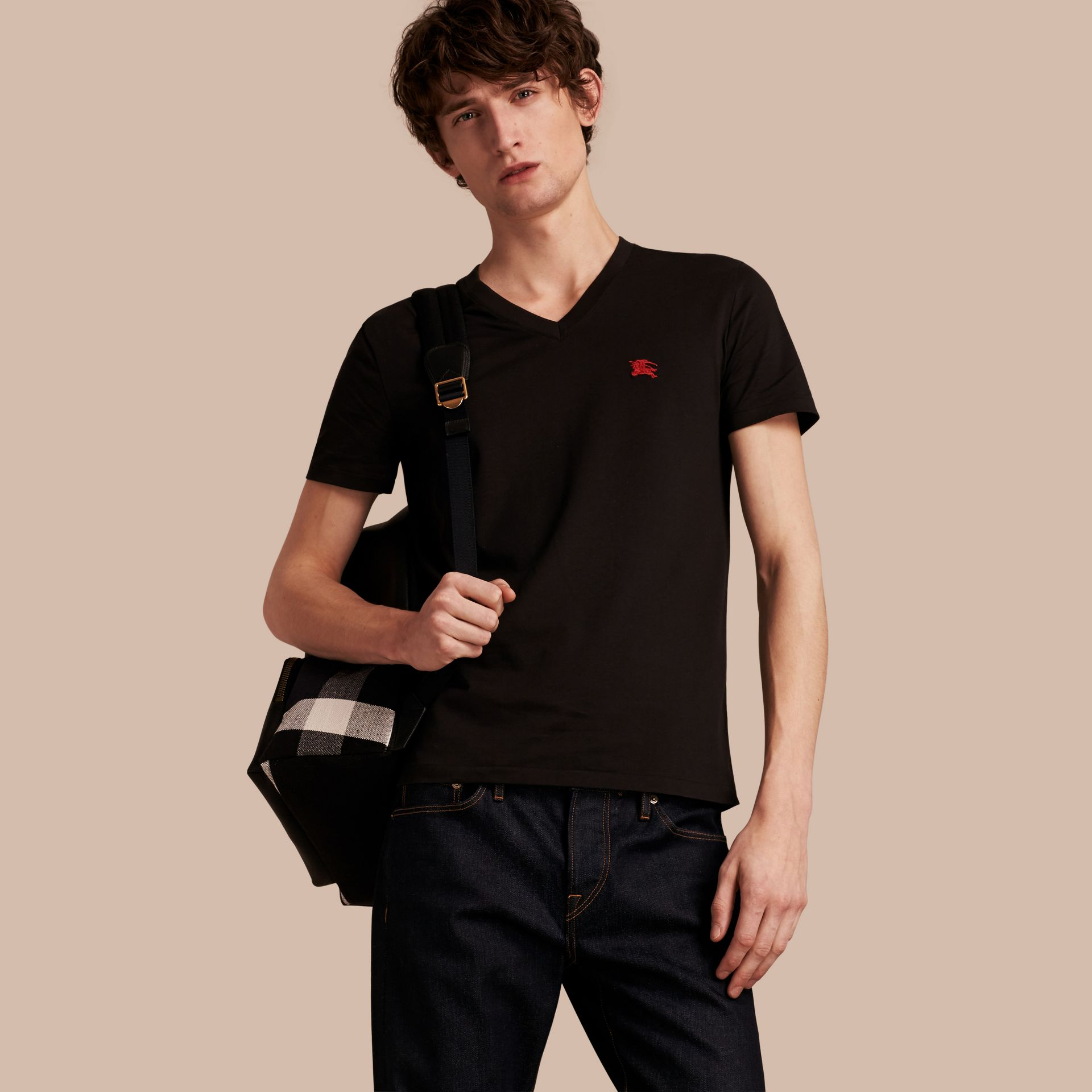 Cotton V-neck T-shirt in Black - Men | Burberry - gallery image 1