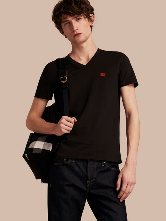 Cotton V-neck T-shirt Black