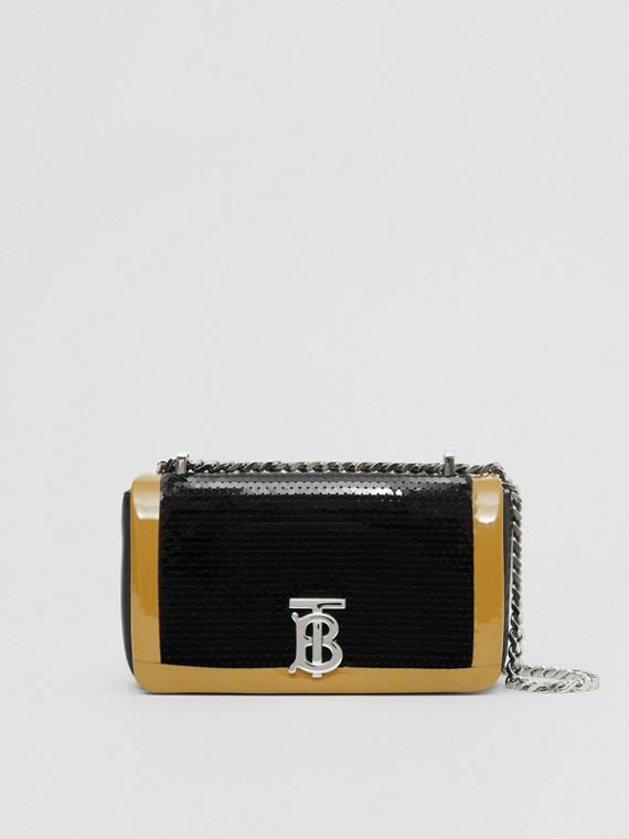 Mini Tape Detail Sequinned Lambskin Lola Bag in Black