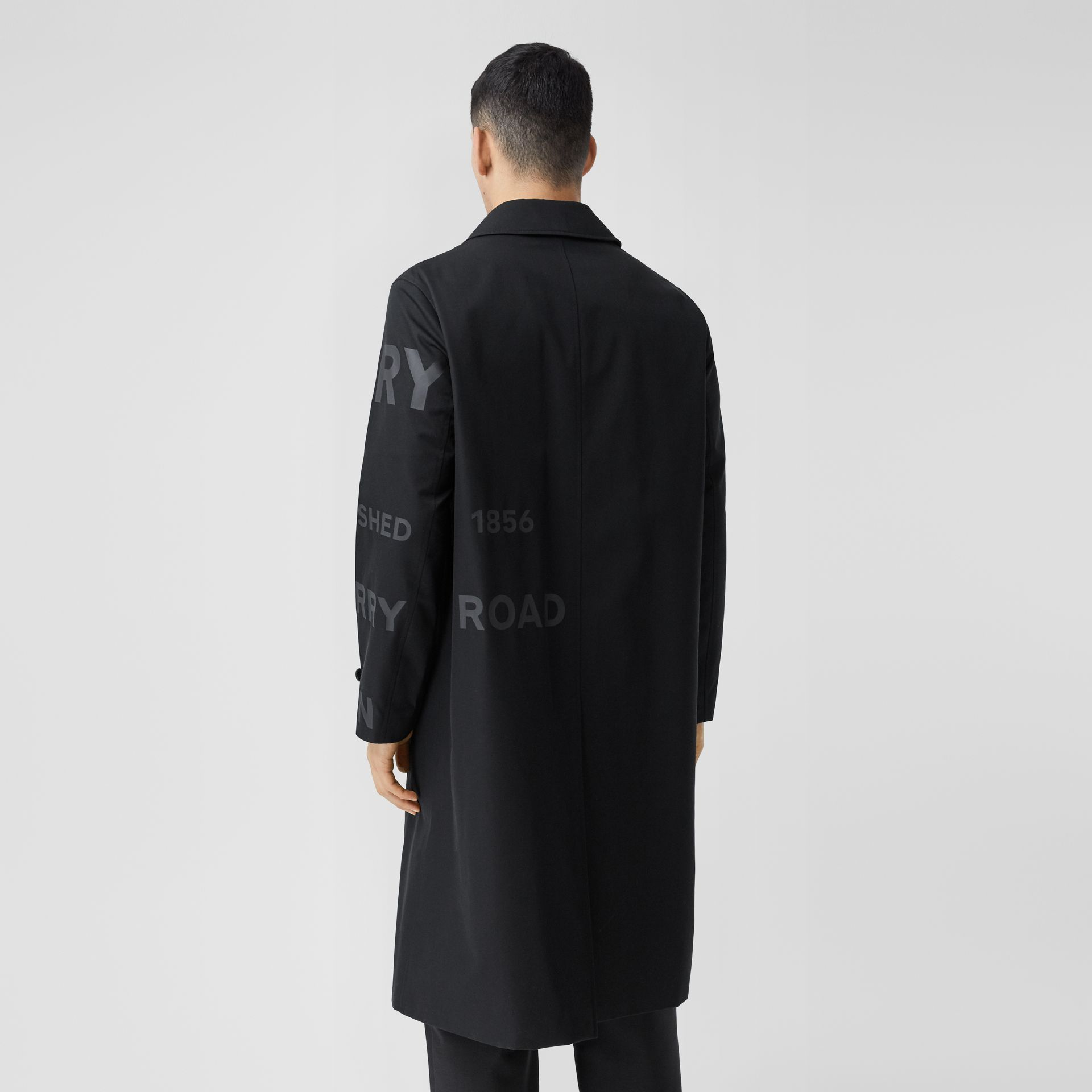 Horseferry Print Cotton Gabardine Car Coat in Black - Men | Burberry - gallery image 2
