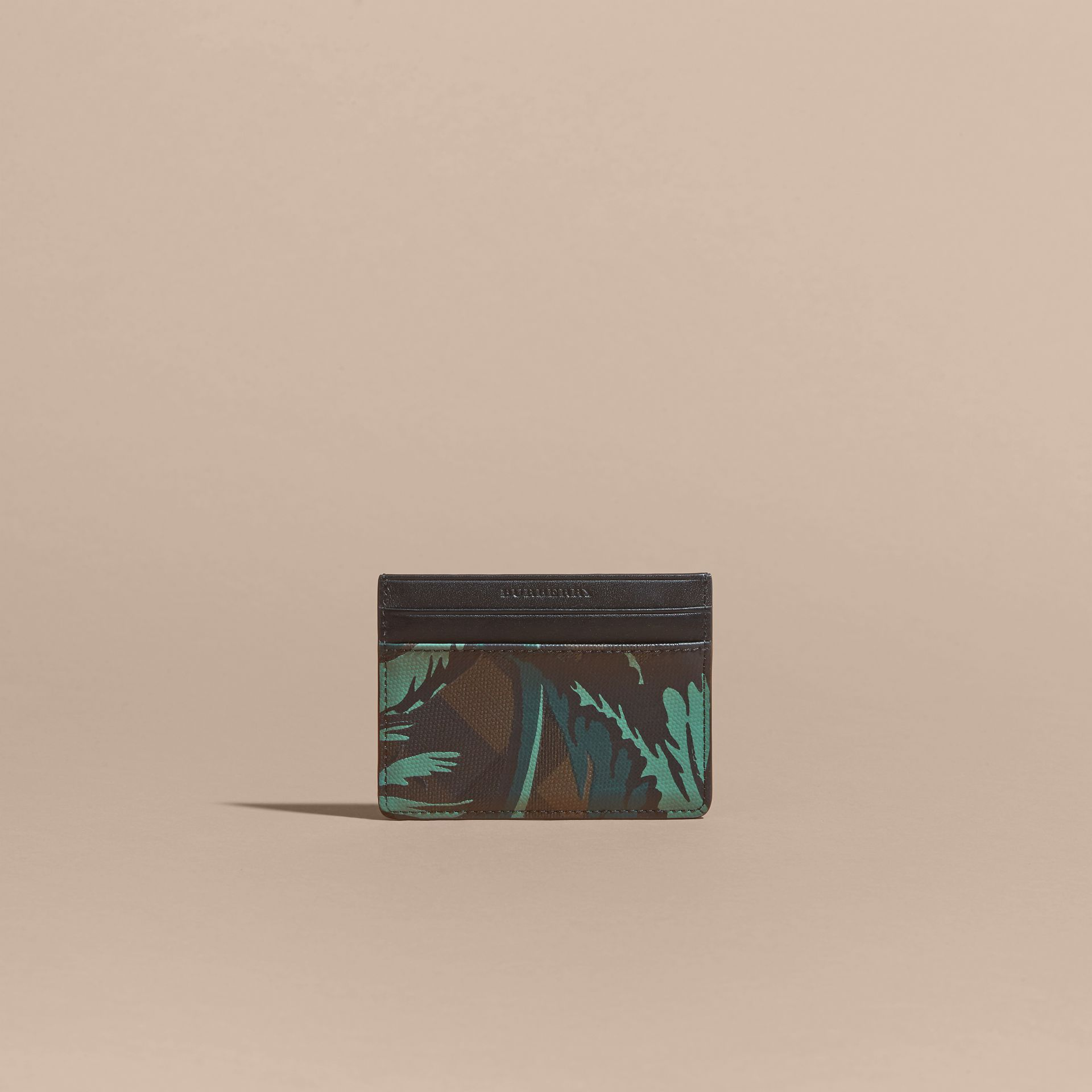 Floral Print London Check Card Case in Chocolate - Men | Burberry - gallery image 6