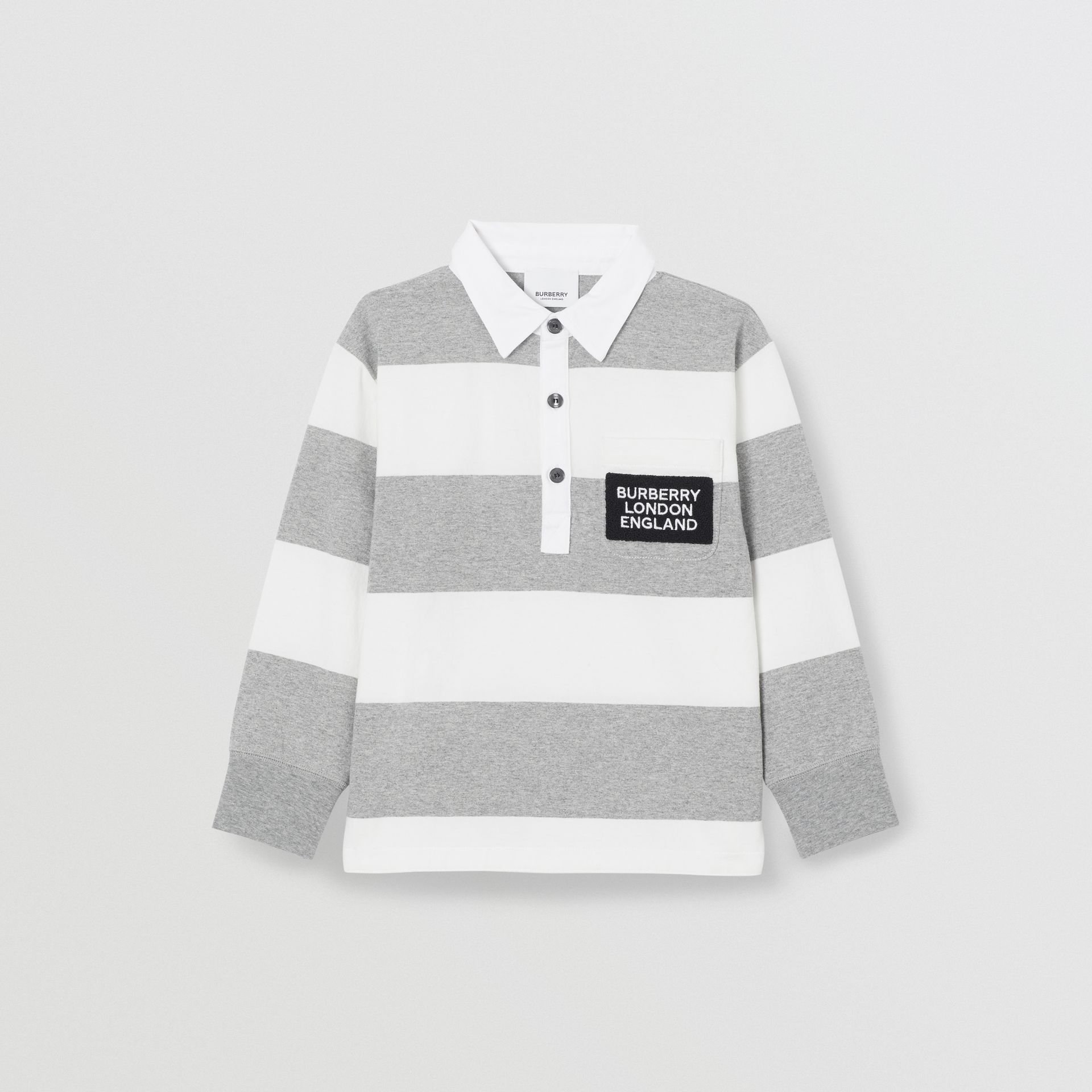 Long-sleeve Striped Cotton Polo Shirt in Grey Melange | Burberry - gallery image 0