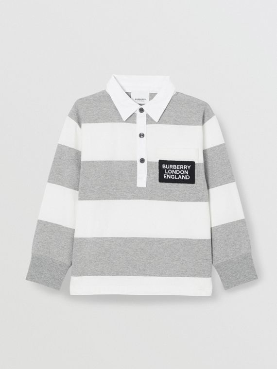 Long-sleeve Striped Cotton Polo Shirt in Grey Melange