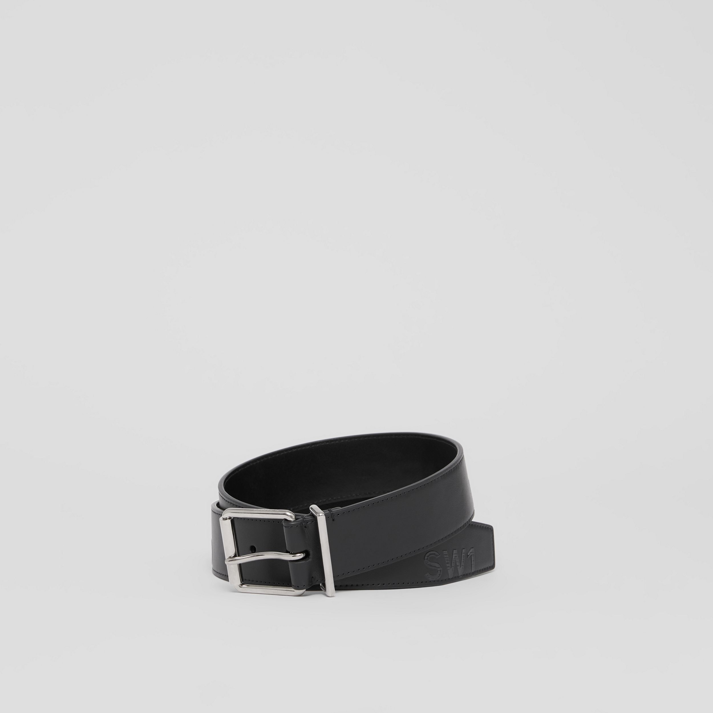 Horseferry Print Leather Belt in Black - Men | Burberry - 1