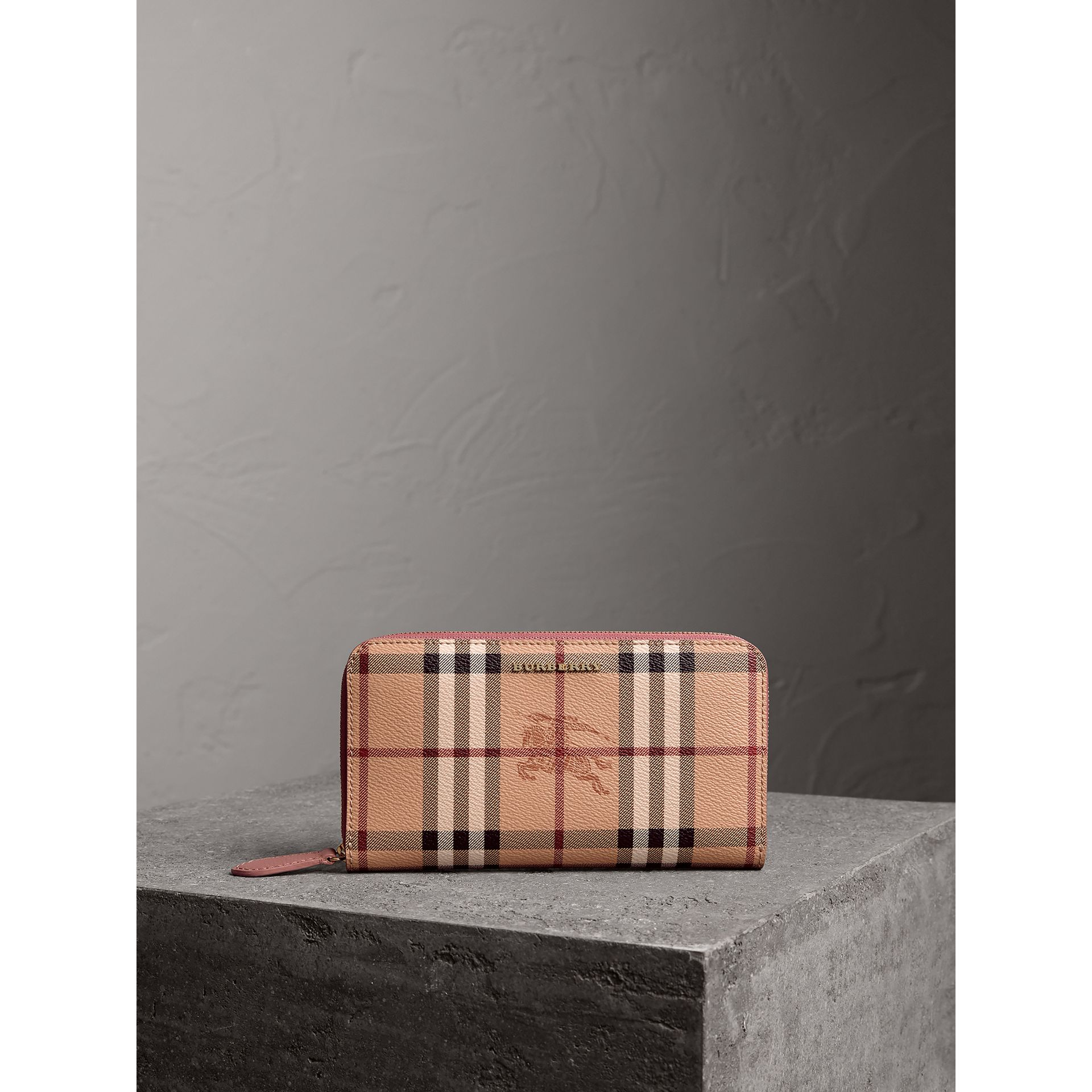 Haymarket Check and Leather Ziparound Wallet in Light Elderberry - Women | Burberry United Kingdom - gallery image 5