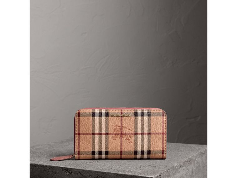 Haymarket Check and Leather Ziparound Wallet in Light Elderberry - Women | Burberry - cell image 4
