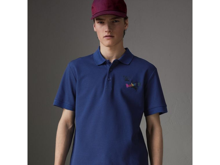 Triple Archive Logo Cotton Piqué Polo Shirt in Bright Indigo - Men | Burberry - cell image 4