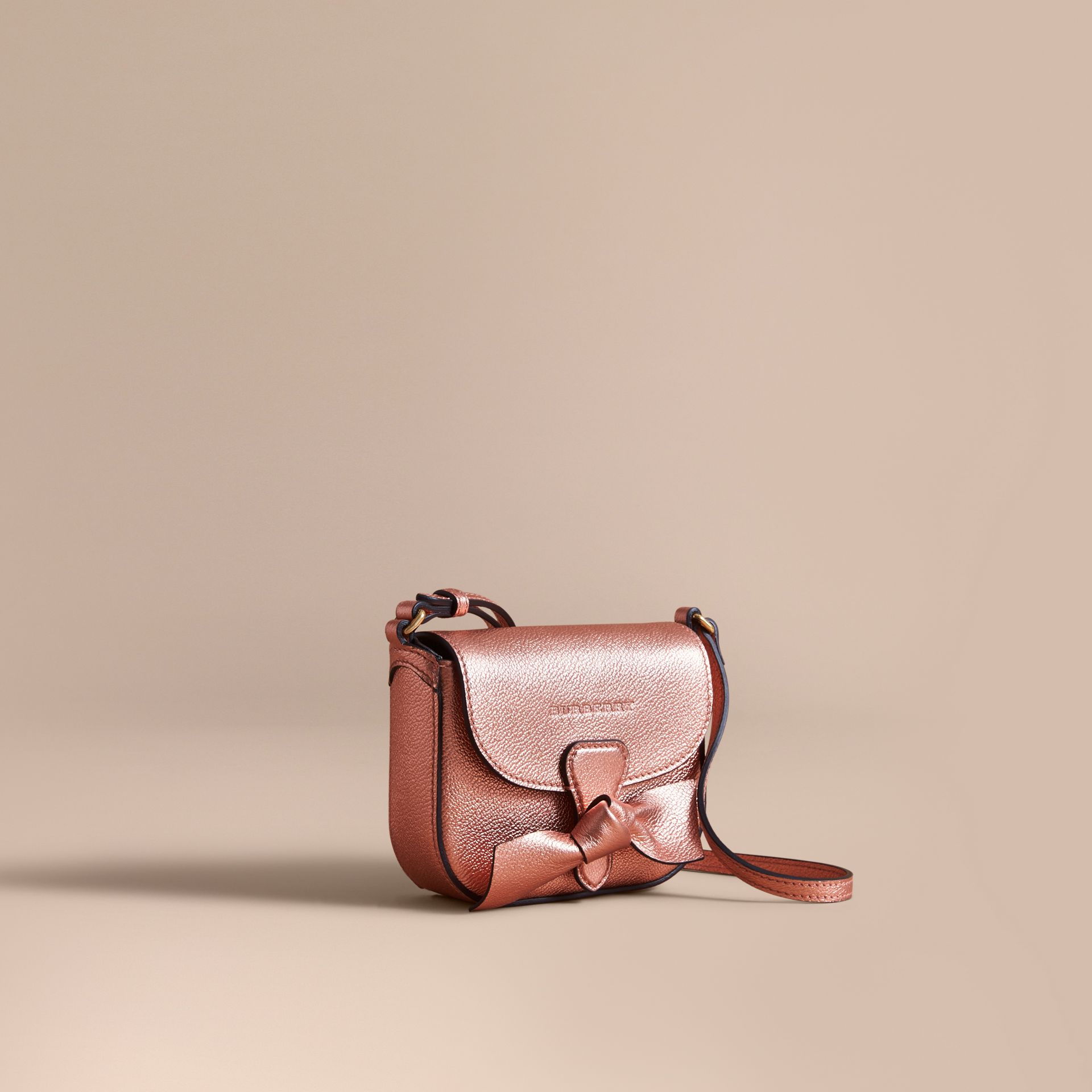Metallic Leather Crossbody Bag in Copper Pink | Burberry - gallery image 0