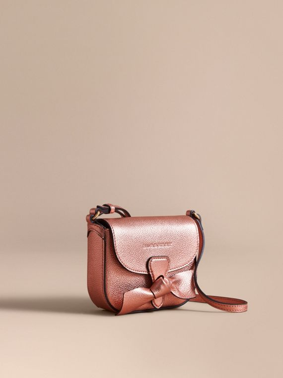Metallic Leather Crossbody Bag in Copper Pink