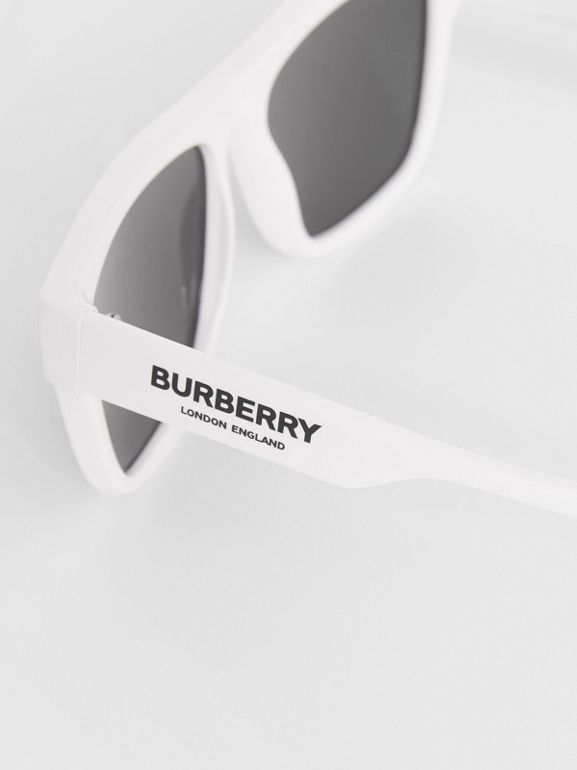 Square Frame Sunglasses in White - Men | Burberry United Kingdom - cell image 1