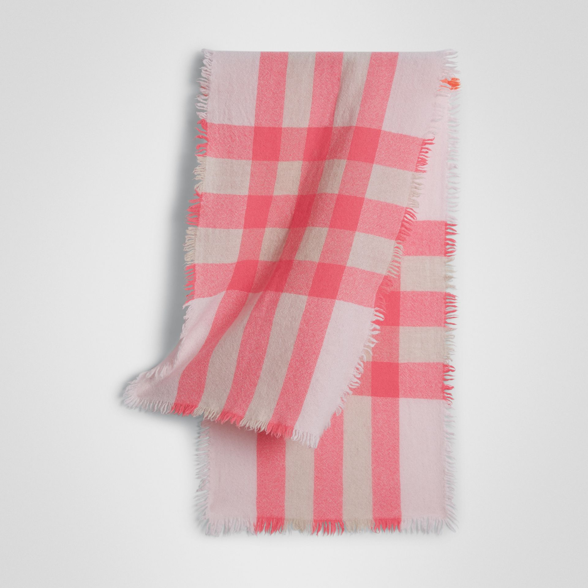 Lightweight Check Wool and Cashmere Scarf in Pale Blossom - Children | Burberry - gallery image 0