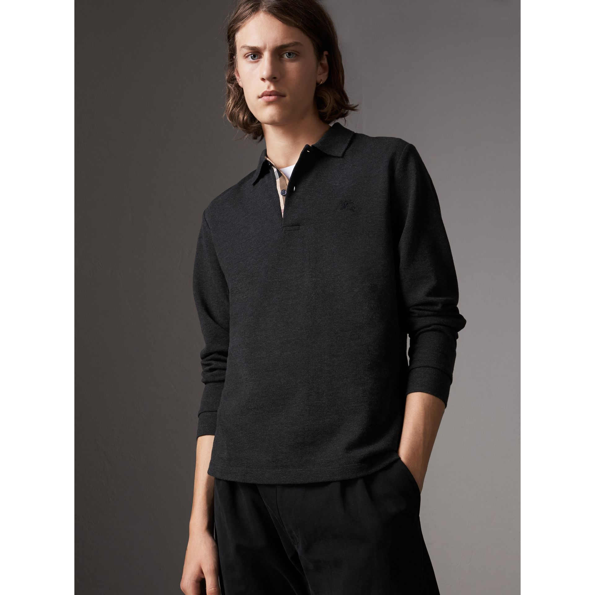 Check Placket Long Sleeve Polo Shirt in Dark Charcoal Melange - Men | Burberry Australia - gallery image 1