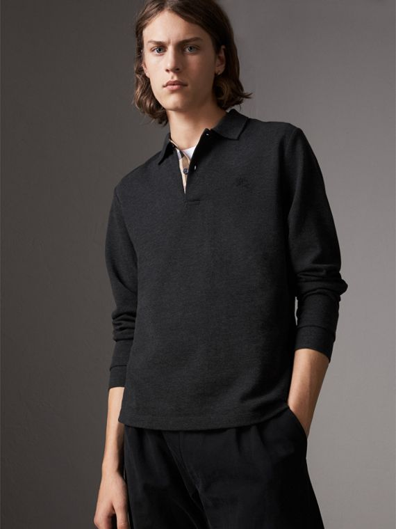 Check Placket Long Sleeve Polo Shirt in Dark Charcoal Melange