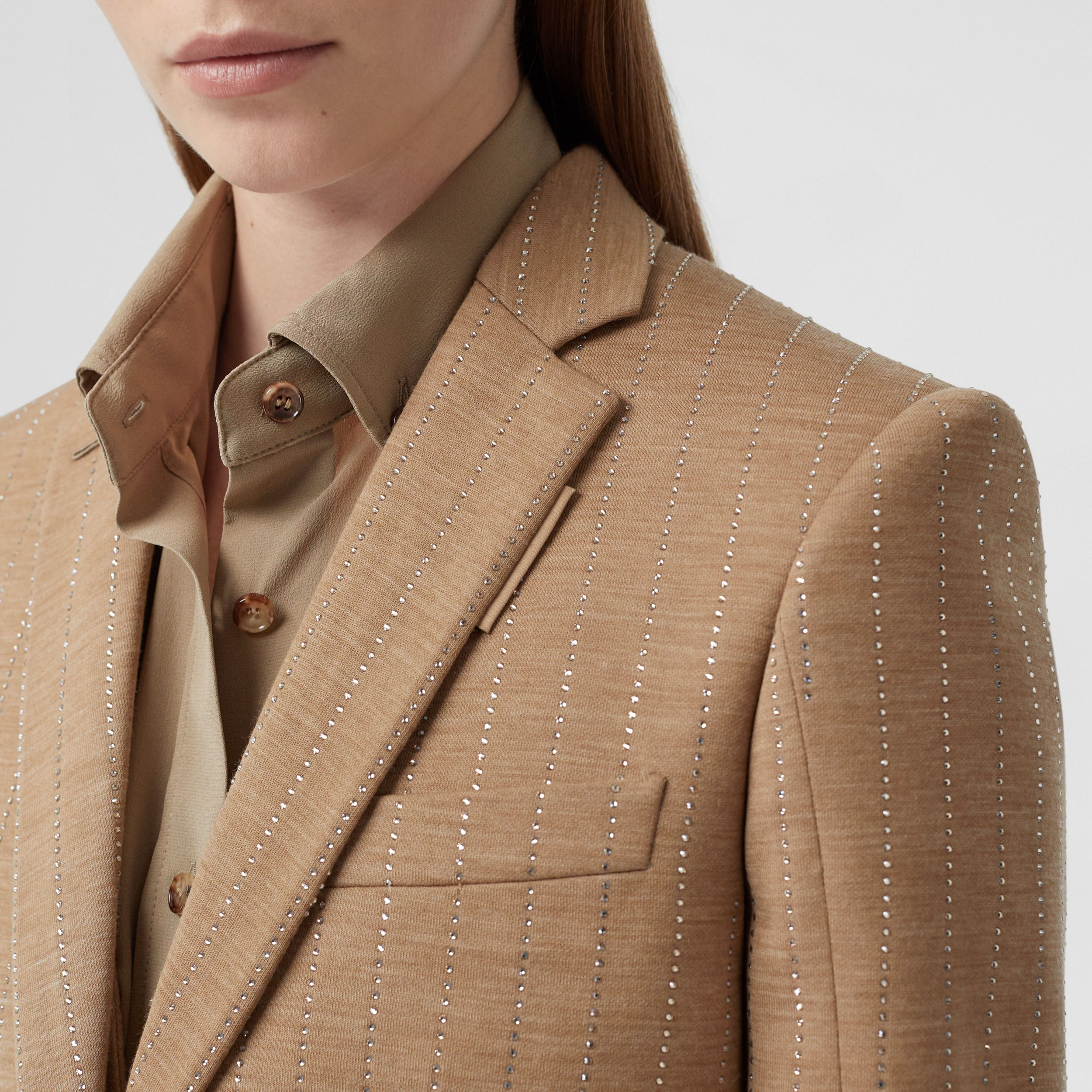 Crystal Pinstriped Technical Wool Jersey Blazer in Pecan Melange - Women | Burberry - 2