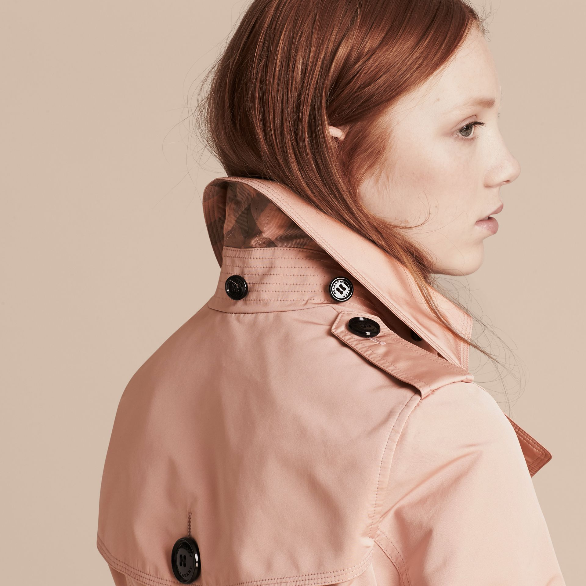 Chalk pink Showerproof Taffeta Trench Jacket with Detachable Hood Chalk Pink - gallery image 5