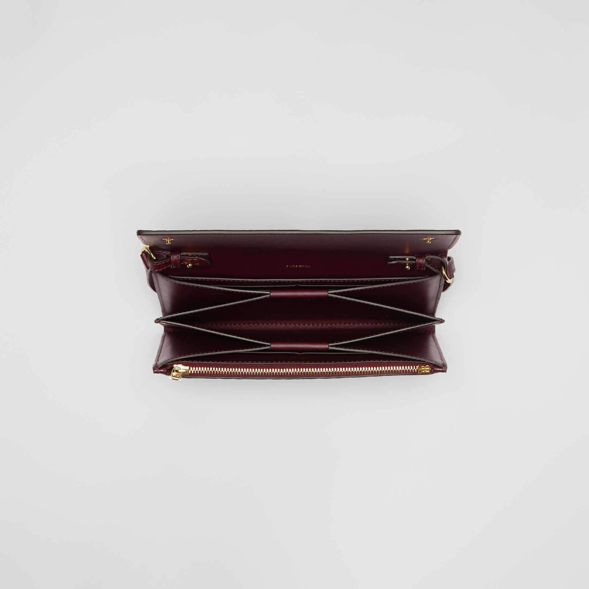 Monogram Leather Wallet with Detachable Strap in Oxblood - Women | Burberry Singapore - gallery image 4