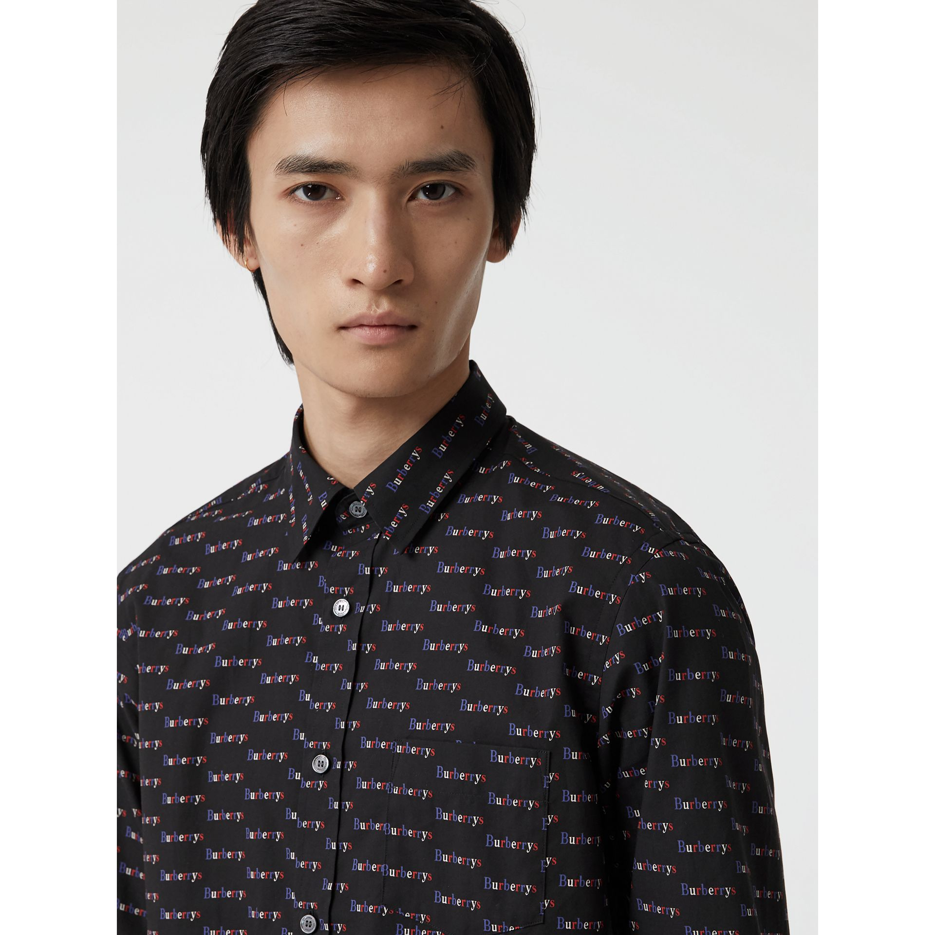 Logo Print Cotton Shirt in Black - Men | Burberry - gallery image 1