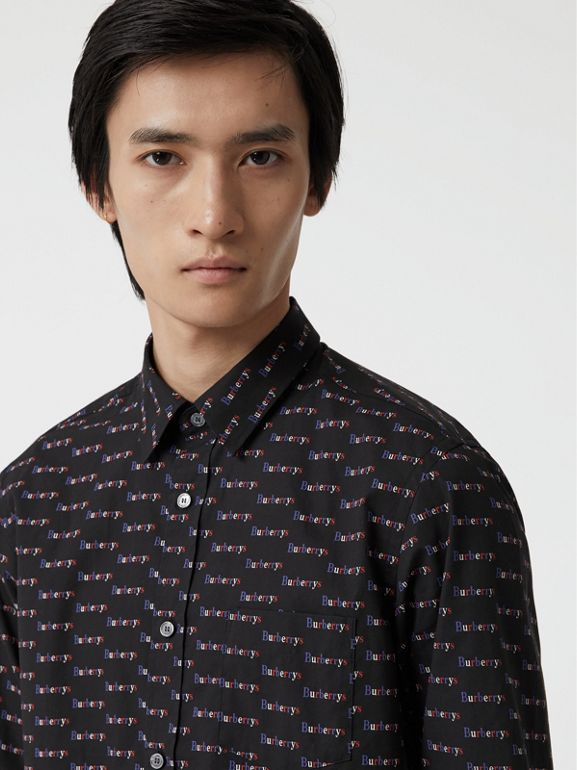 Logo Print Cotton Shirt in Black - Men | Burberry Australia - cell image 1