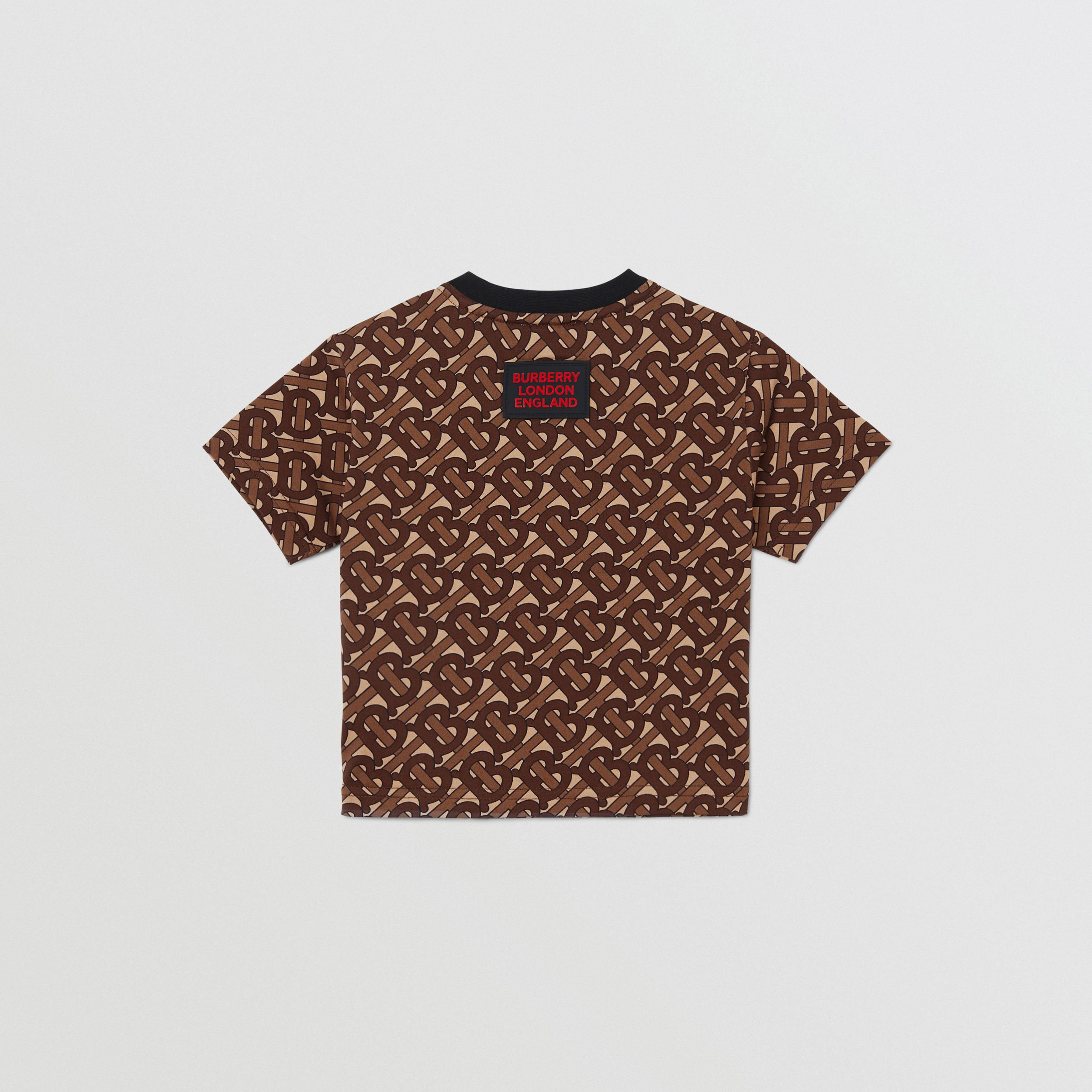 Monogram Stripe Print Cotton T-shirt in Bridle Brown - Children | Burberry - 3