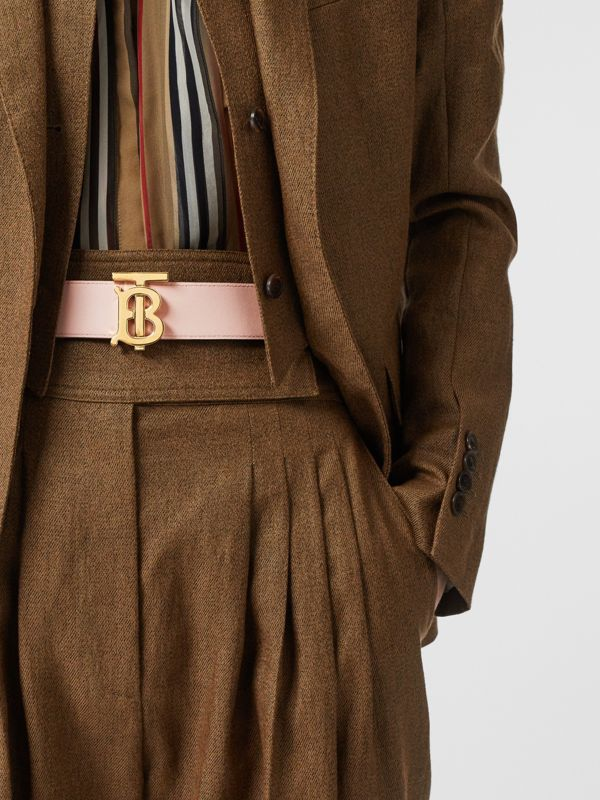 Reversible Monogram Motif Leather Belt in Oxblood/rose Beige - Women | Burberry - cell image 2