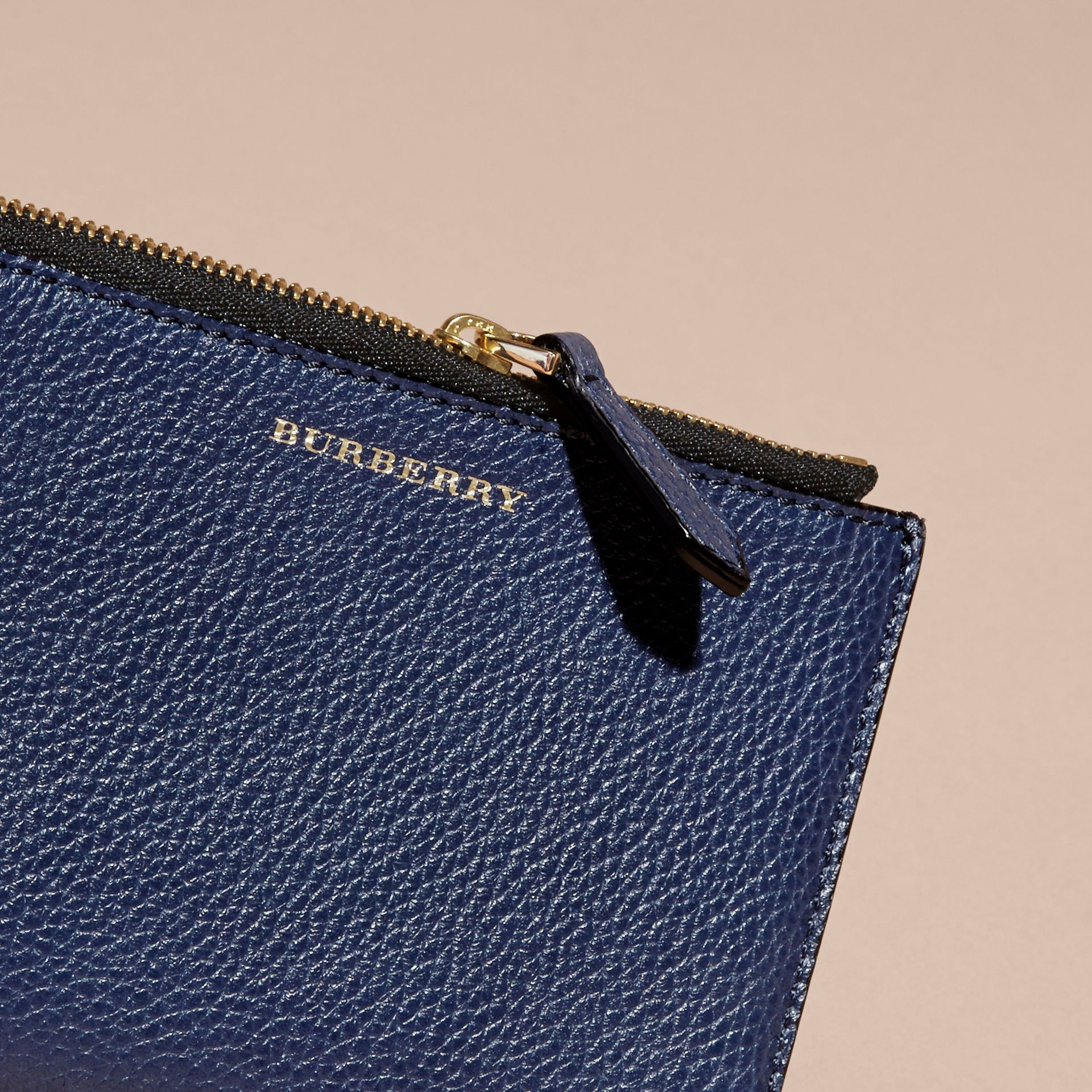 Leather Passport Wallet in Bright Navy | Burberry - gallery image 2