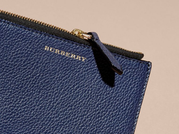 Leather Passport Wallet in Bright Navy | Burberry - cell image 1