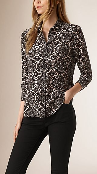 Lace Print Silk Shirt