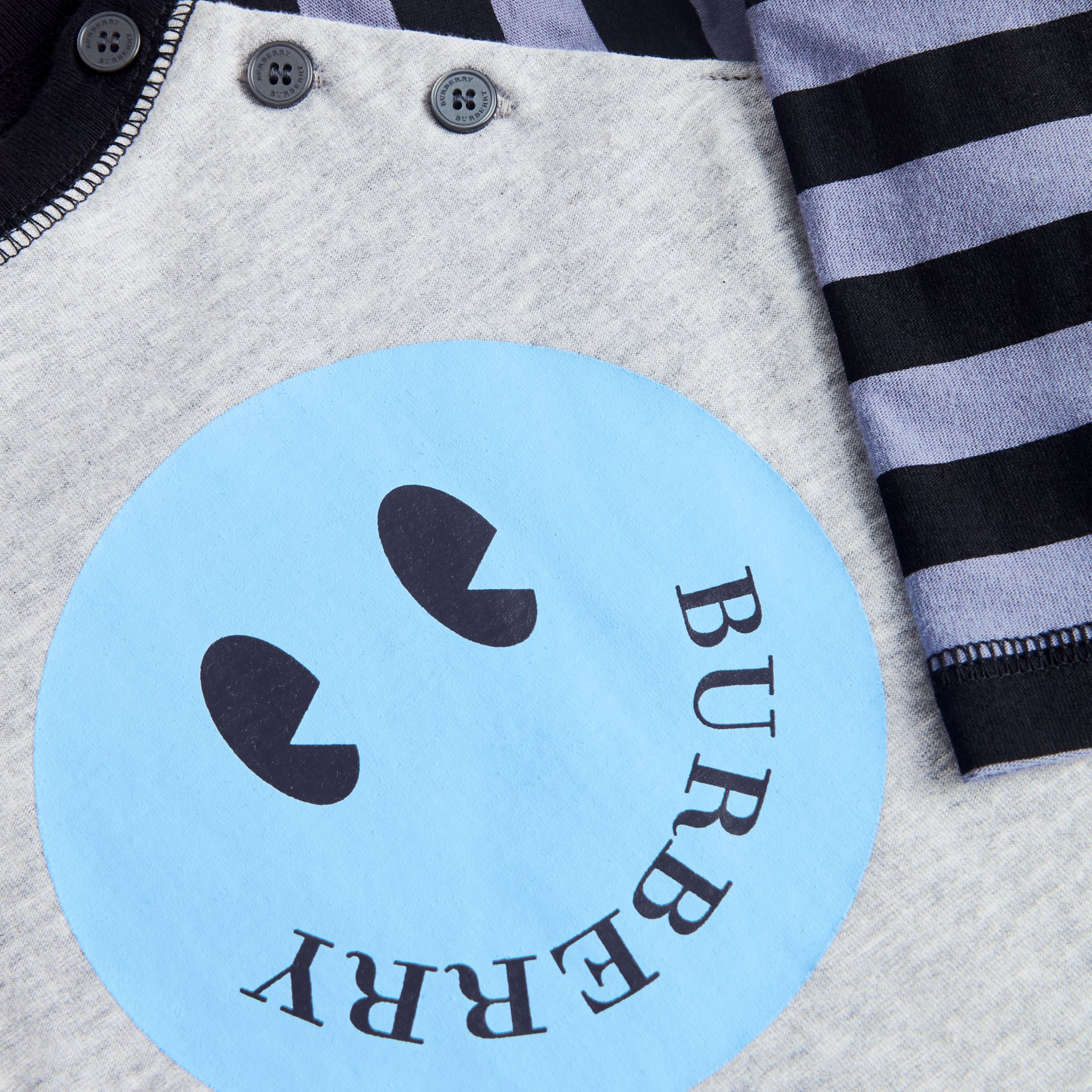 Smiley Face Print Cotton Jumpsuit in Grey Melange - Children | Burberry United Kingdom - gallery image 1