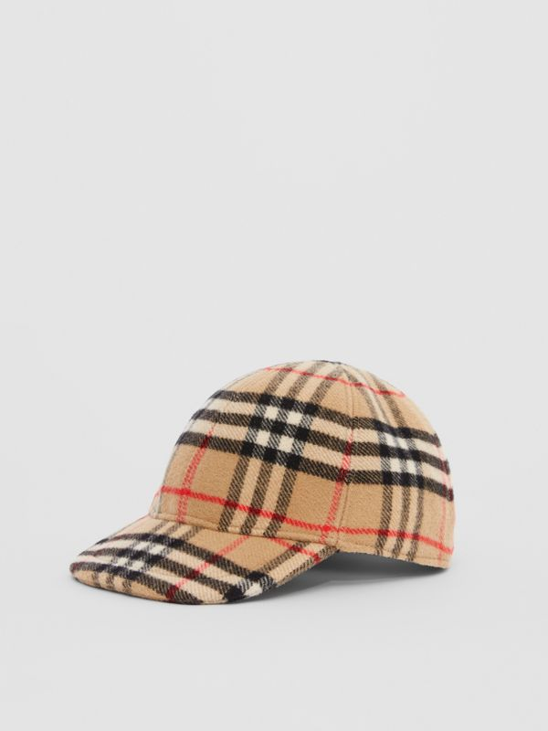 Vintage Check Wool Baseball Cap in Archive Beige - Children | Burberry - cell image 3