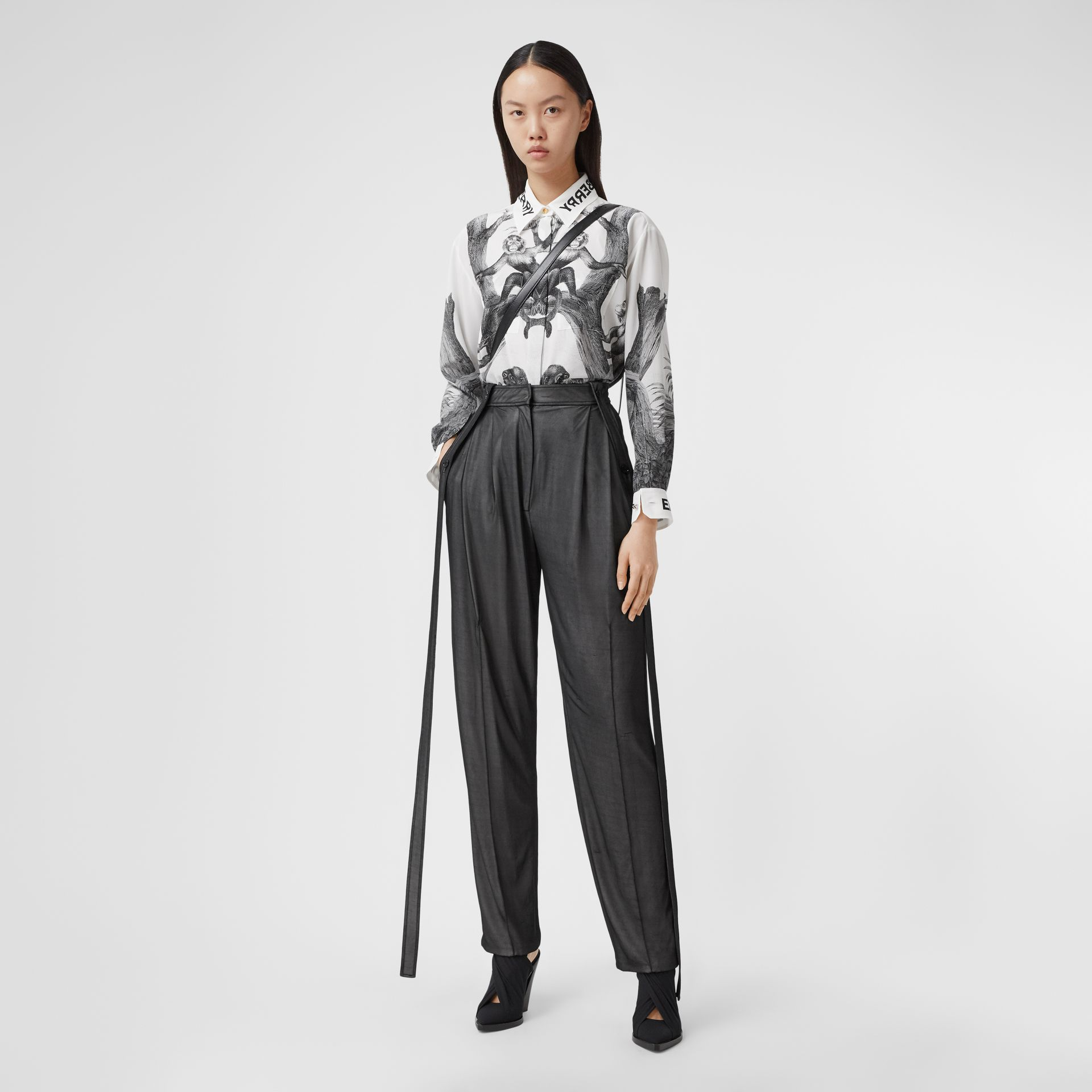 Montage Print Silk Shirt in Monochrome | Burberry - gallery image 0